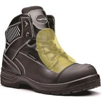Rugged Terrain - Waterproof Derby Safety Boots with Internal Metatarsal (S3 M WRU HRO SRC) - Black Leather