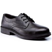 Rugged Terrain - Executive Plain Front Safety Shoes (S1P SRC) - Black Leather