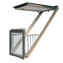 Fakro Roof Window - Balcony in White Polyurethane Coated Pine - Safety Triple Glazing [FGH-V/U P5]