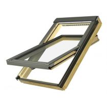 Fakro Roof Window - Electrically Operated Centre Pivot in Pine - Laminated Double Glazed [FTP-V P2 Z-Wave]