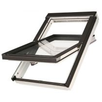Fakro Roof Window - Centre Pivot in White Polyurethane Coated Pine - Passive Quadruple Glazing [FTT/U U8]