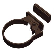 Plastic Guttering Half Round - Single Fix Down Pipe Clip - 65mm - Brown