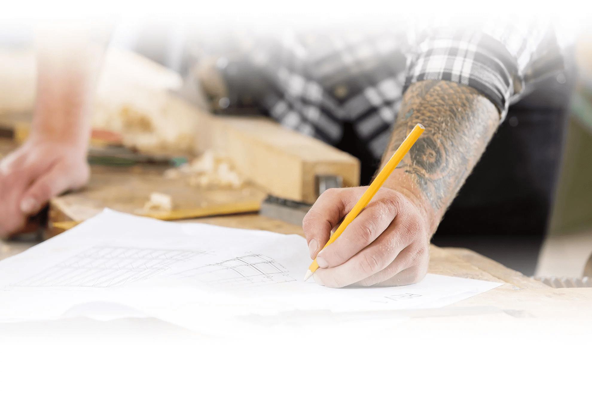Building plan drawing board