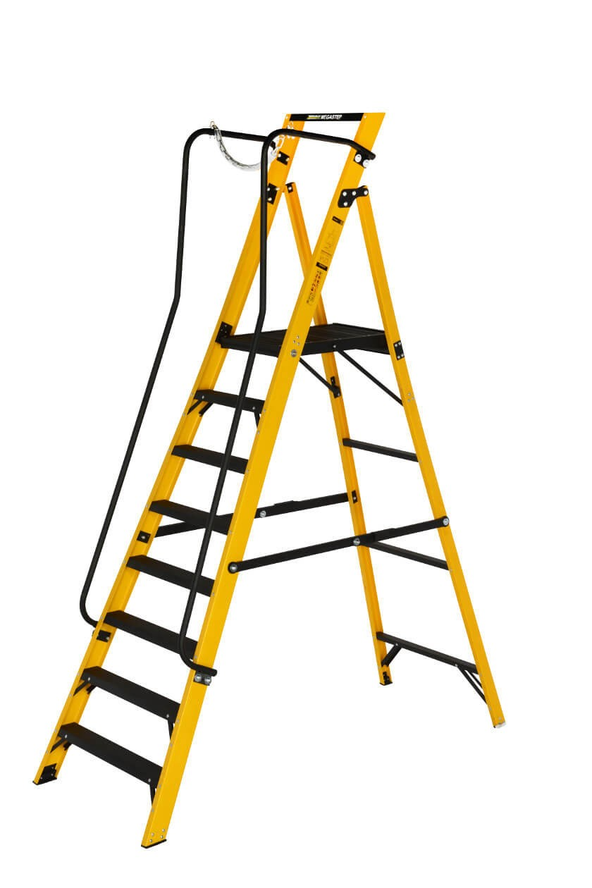 Youngman Megastep Fibreglass Stepladder with Handrails