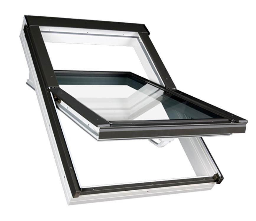 Fakro Roof Window Centre Pivot In White Pvc Obscure