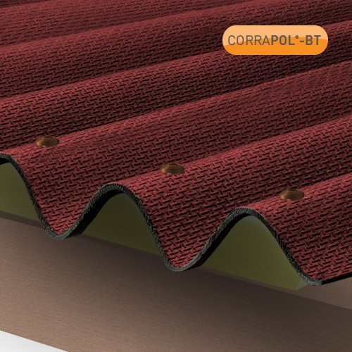 Side View of a Red Corrugated Bitumen Roof Sheet