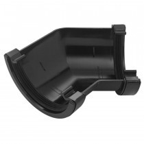 Plastic Guttering Half Round - 135˚ Angle - 114mm x 51mm - Black