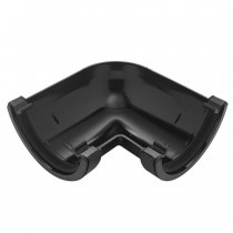 Plastic Guttering Half Round - 90˚ Angle - 114mm x 51mm - Black