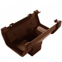 Plastic Guttering Squareline - Running Outlet - 114mm x 95mm - Clay Brown