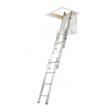 Werner 3m 3 Section Aluminium Loft Ladder with Handrail
