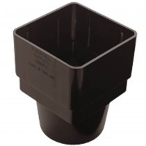 Plastic Guttering - Square to Round Pipe Adaptor - Black