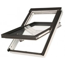 Fakro Roof Window - Centre Pivot in White Polyurethane Coated Pine - Passive Quadruple Glazing [FTT/U U8]