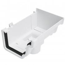 Plastic Guttering Universal Plus - Stop End Outlet Left Hand - 128mm - Black