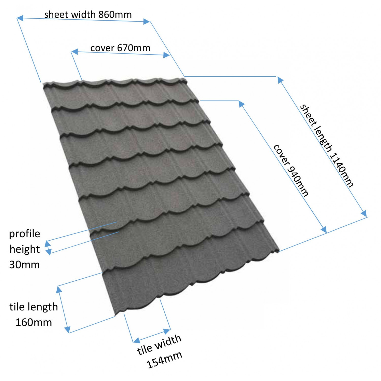 a3bf3eb748 ... Metal Roofing Sheet - Charcoal (1140x860mm) Corotile Technical Data ...