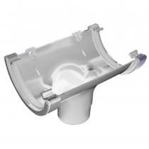 Plastic Guttering Half Round - Running Outlet - 114mm x 51mm - White