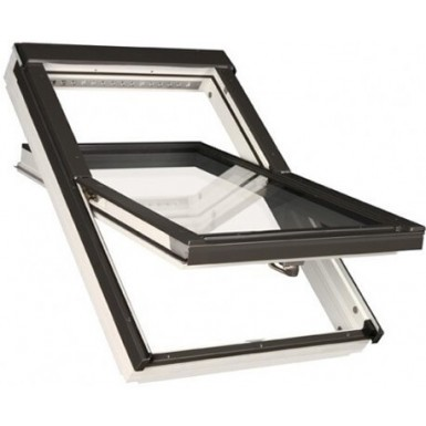 Fakro Roof Window - Centre Pivot in White Acrylic Coated Pine - Sound Reducing Triple Glazing [FTT/W R3]