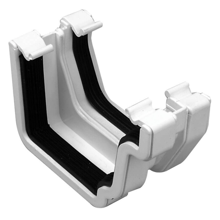 Plastic Guttering Universal Plus - Square Adaptor Right Hand - 128mm - White