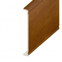 Box-end UPVC Capping Board - Ogee 404mm x 9mm - Golden Oak (1.25m)