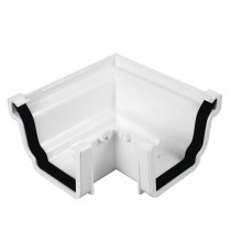 Plastic Guttering Universal Plus - External 90˚ Angle 128mm x 88mm - White
