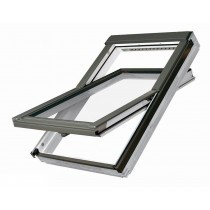 Fakro Roof Window - Electrically Operated Centre Pivot in White Polyurethane Coated Pine - Laminated Double Glazed [FTU-V P2 Z-Wave]