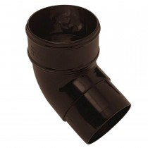 Plastic Guttering Half Round - 112˚ Down Pipe Bend - 65mm - Brown