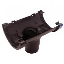 Plastic Guttering Half Round - Running Outlet - 114mm x 51mm - Brown