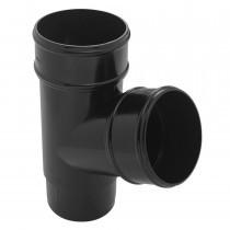 Plastic Guttering Half Round - Down Pipe Branch - 65mm - Black