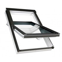 Fakro Roof Window - Centre Pivot in White PVC - Obscure Double Glazed [PTP-V 02]