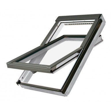 Fakro Roof Window - Centre Pivot in White Acrylic Coated Pine - TopSafe Secure - Laminated Double Glazed [FTW-V P2]