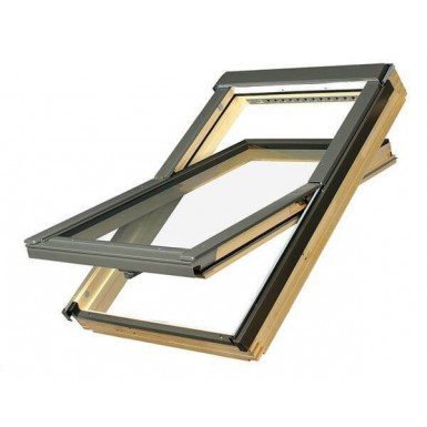 Fakro Roof Window - Electrically Operated Centre Pivot in Pine - Safety Triple Glazed [FTP-V P5 Z-Wave]