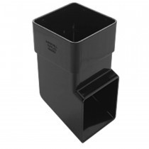 Plastic Guttering Squareline - Down Pipe Shoe - 65mm - Black