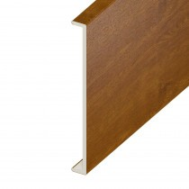 Double Fascia UPVC Capping Board - Plain 350mm x 9mm - Golden Oak (5m)