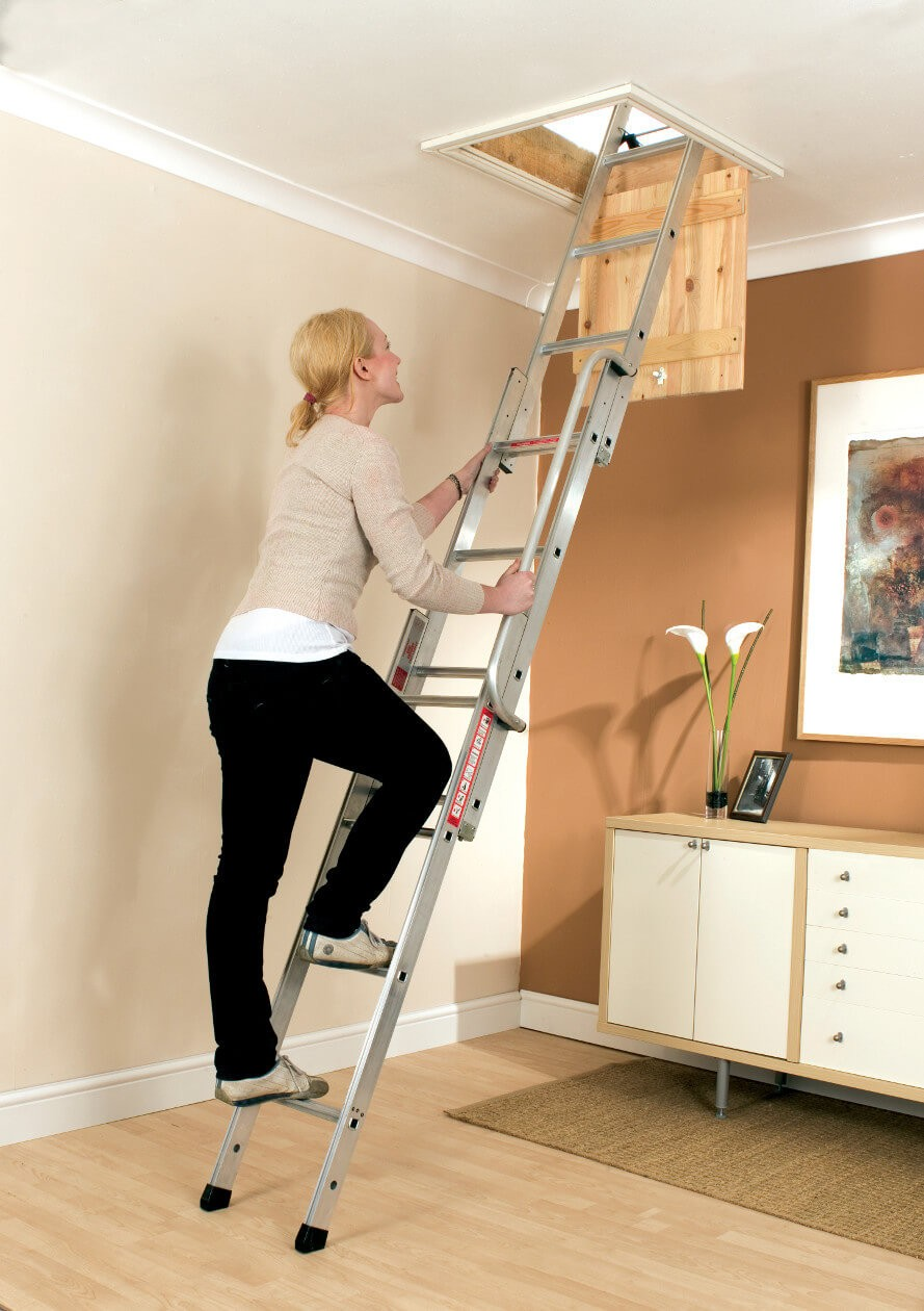 3 Section Loft Ladder Being Used by Lady