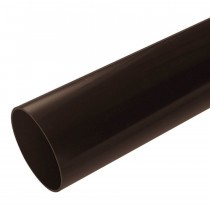 Plastic Guttering Half Round - Down Pipe - 65mm - Brown