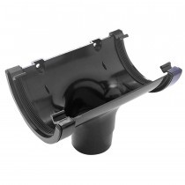 Plastic Guttering Half Round - Running Outlet - 114mm x 51mm - Black