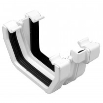 Plastic Guttering Universal Plus - Square Adaptor Left Hand - 128mm - White