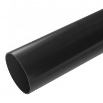 Plastic Guttering Half Round - Down Pipe - 65mm - Black (2.5m)