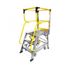 Werner Fibreglass Swingback Stepladder with Lock-In Accesory System