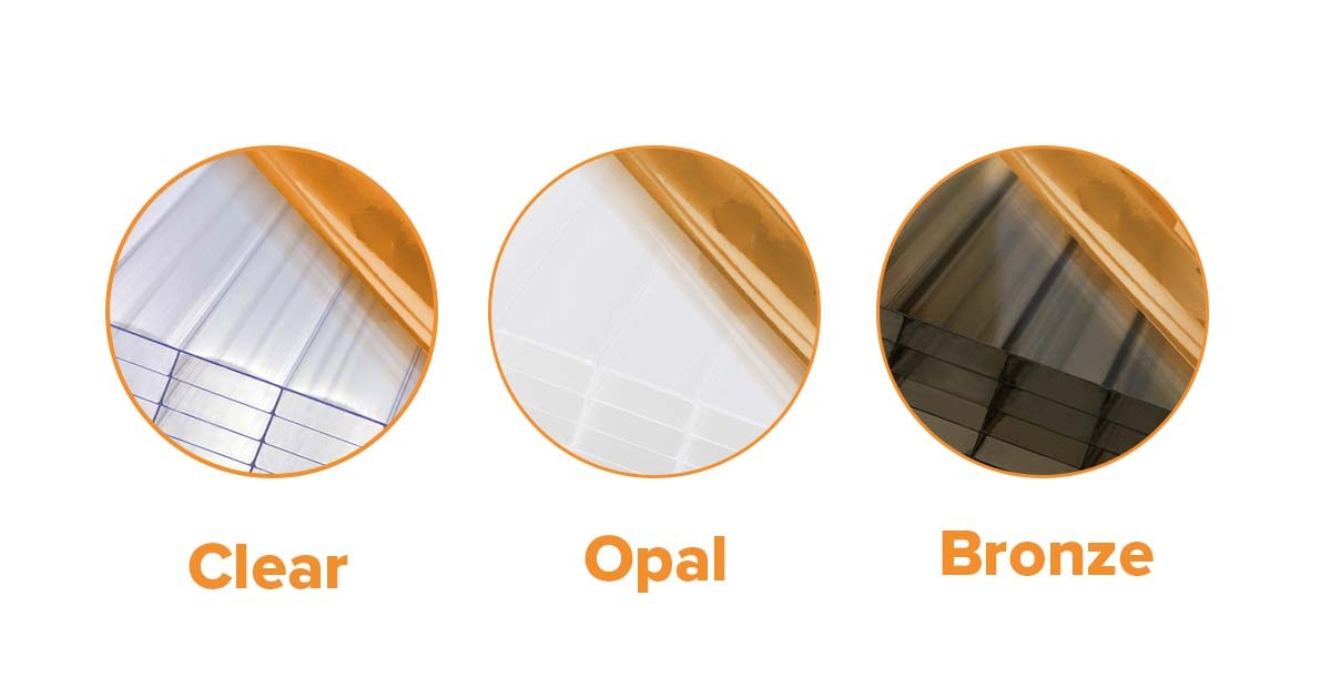 Comparison of polycarbonate sheet colours.