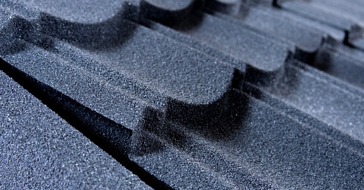 Close up of a tile effect roofing sheet.