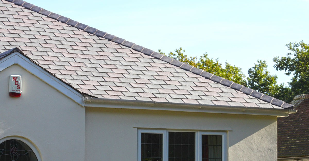 Tapco Synthetic Slate Tile fitted onto a house roof.