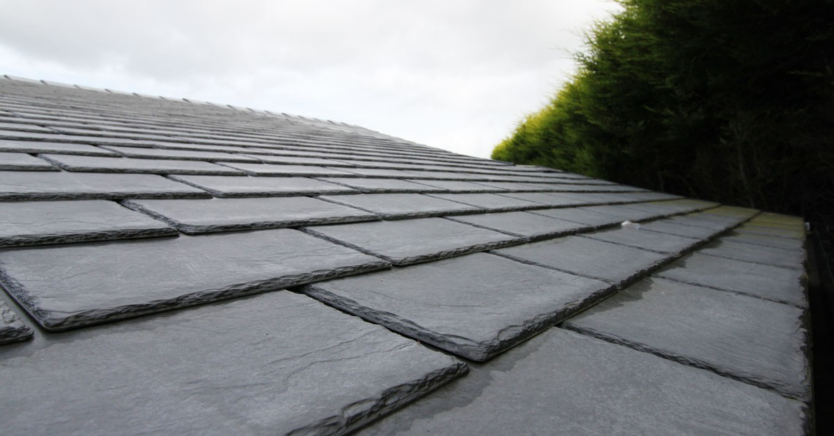 Tapco Synthetic Slate Tile fitted onto a pitched roof.
